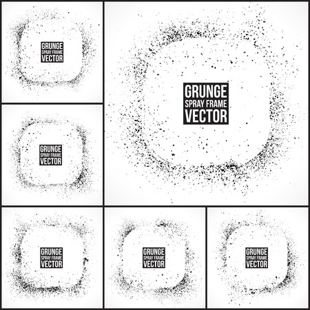 Set of 6 grunge vector spray painted frames  Vector