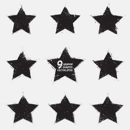 Set of 9 grunge vector stars