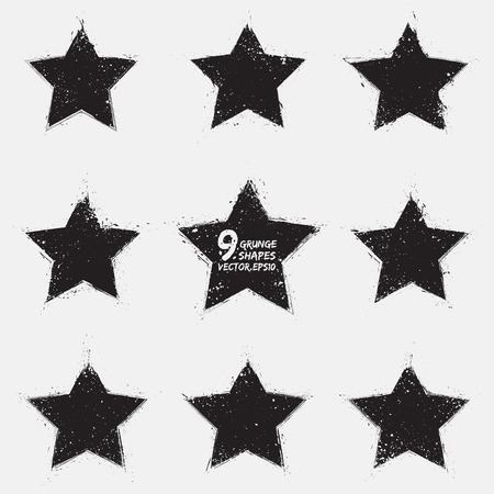 Set of 9 grunge vector stars  Vector