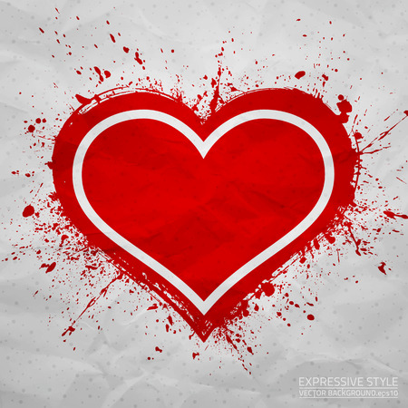 Creased old paper with handmade heart background Vector