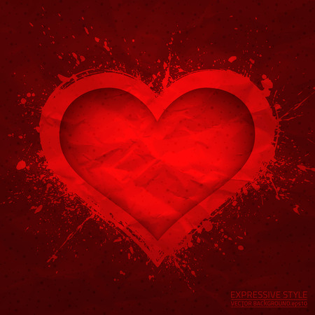Creased old paper with cut red heart background Vector