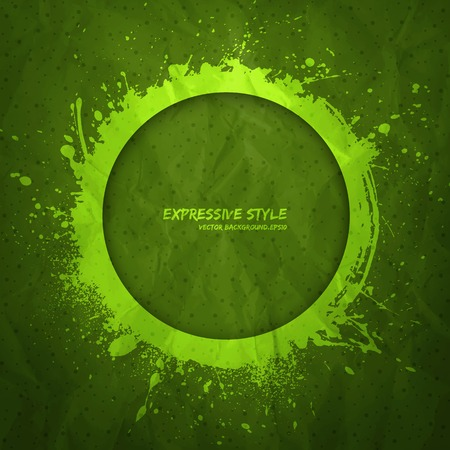 expressive style: Hand drawn vector grunge background  Business vector background  Abstract vector art  Expressive style vector  Handmade vector background  Old textured creased paper vector  Green vector background Illustration