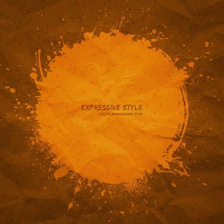 expressive style: Hand drawn vector grunge background  Business vector background  Abstract vector art  Expressive style vector  Handmade vector background  Old textured creased paper vector  Orange vector background Illustration