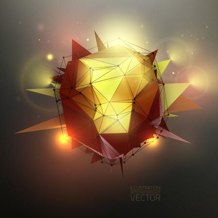 scifi: Vector sci-fi wallpaper. 3d polygonal vector illustration. Concept vector art. Illustration