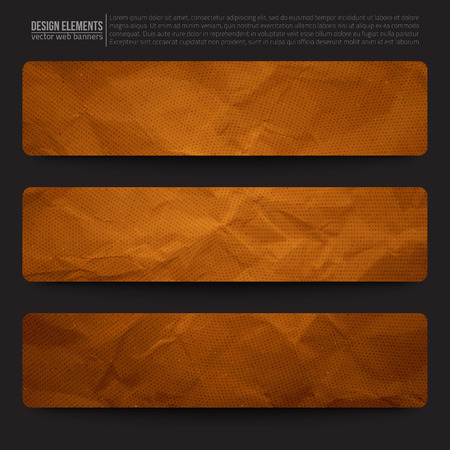 creased: Set of 3 old creased paper vector web banners. Vector web buttons.  Illustration