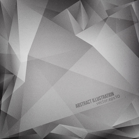 Abstract vector grey polygonal background with halftone texture.