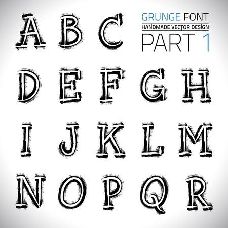 hand made: Grunge Hand Made Vector Font  Illustration