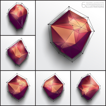 6 vector illustrations of abstract polygons. Design vector elements.  Illustration