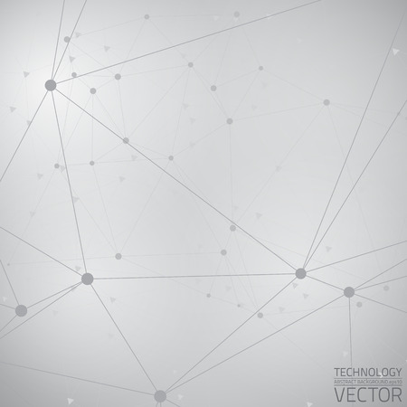 灰色の光技術のベクトルの背景を抽象化します。接続構造体。