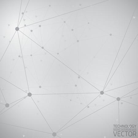 추상 밝은 회색 기술 벡터 배경입니다. 연결 구조.