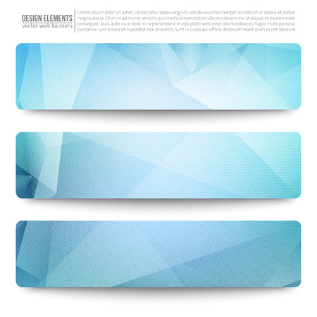 Set of 3 blue vector web banners. Abstract vector polygonal bright background.