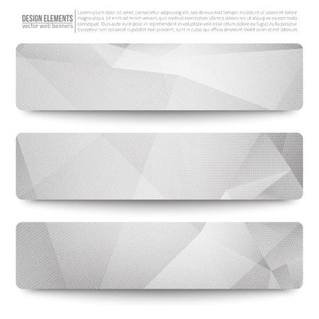 3 밝은 회색 벡터 웹 배너의 집합입니다. 추상적 인 벡터 다각형 밝은 배경. 벡터 웹 단추입니다. 디자인 벡터 요소