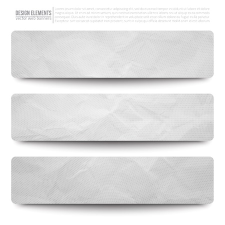 Set of 3 light grey vector creased paper web banners. Abstract vector bright background. Ilustracja
