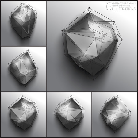 keen: 6 vector illustrations of abstract 3d polygons. Design vector elements.