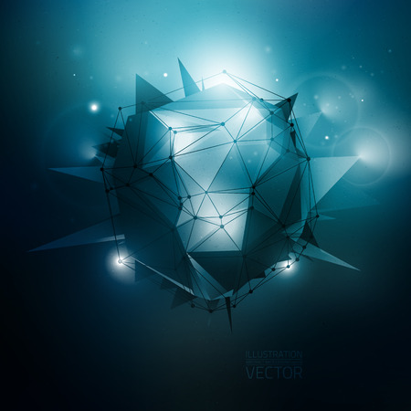 Polygonal 3D vector illustration. Dark blue vector background. Sci-Fi technology vector background. Concept vector art. Vector