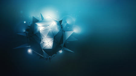 hereafter: Abstract dark blue wallpaper with polygonal shape and light effects.