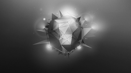 hereafter: Abstract dark grey wallpaper with polygonal shape and light effects.
