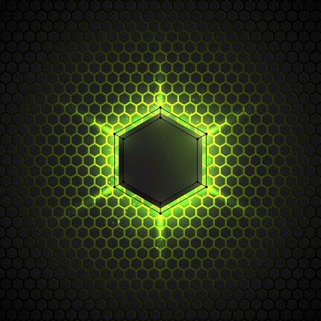 Abstract vector dark background with neon light. Vector background for web, applications, business. Vector abstract sci-fi illustration. Vector polygons Ilustracja