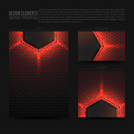 bundle: Design vector elements: flyer, business card and invitation. Vector design mockup. Vector print templates. Set of vector banners. Vector design bundle