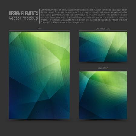 Design vector elements: flyer, business card and invitation. Vector design mockup. Vector print templates. Set of vector banners. Vector design bundle