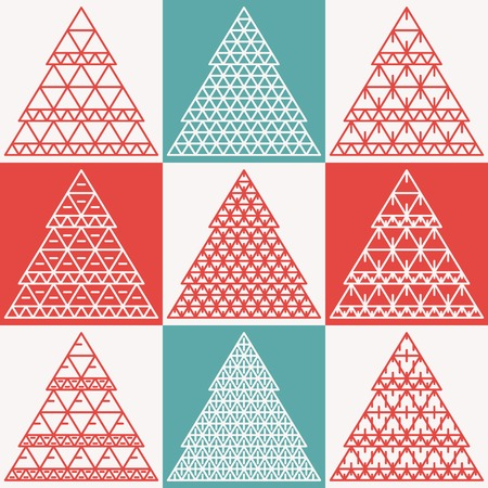 Stylized flat vector Christmas trees. Happy New Year and Merry Christmas. Vector Flat Christmas. Retro and vintage vector illustration. Retro colors Vector