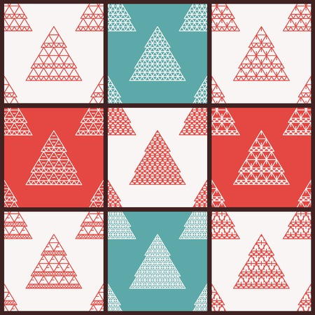 Christmas vector seamless patterns with stylized Christmas trees. Vector line art. Vector flat seamless pattern. Retro pattern. Hipster pattern. Design elements Vector