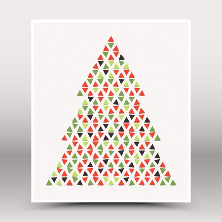 different shapes: Vector Happy Christmas and Happy New Year retro poster. Stylized Christmas tree vector illustration. Christmas vector background Illustration