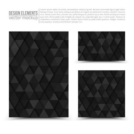 bundle: Design dark gray vector elements: flayer, business card and invitation. Vector design mockup. Vector print templates. Set of vector banners. Vector design bundle Illustration