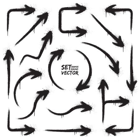 designator: Grunge vector arrows set. Abstract vector background. Vector design elements. Hand drawn vector shapes. Vector grunge cursors. Grungy vector shapes