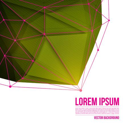 抽象的な 3 d ベクトル技術緑ワイヤ フレーム構造の背景を持つ形状です。Web アプリケーション ビジネスのベクトル デジタル背景。抽象的なベクト  イラスト・ベクター素材