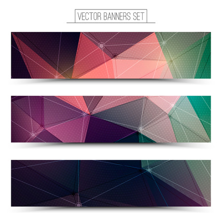Abstract 3d vector digital technology web banners set. Internet technology vector background. Business abstract vector. Design vector elements