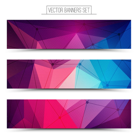 network: Abstract 3d vector digital technology web banners set. Internet technology vector background. Business abstract vector. Design vector elements