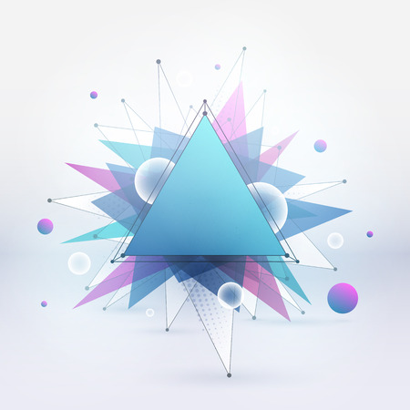 Abstract vector colorful mixed polygonal background. Summer party. Vector illustration for business, advertising, web, print. Hight quality vector wallpaper. Technology, science vector background Ilustracja