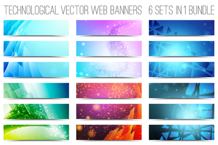 media technology: Bundle of 18 abstract digital tech web banners. Vector design elements. Internet technology background. Design vector elements. Media advertising business. Internet business