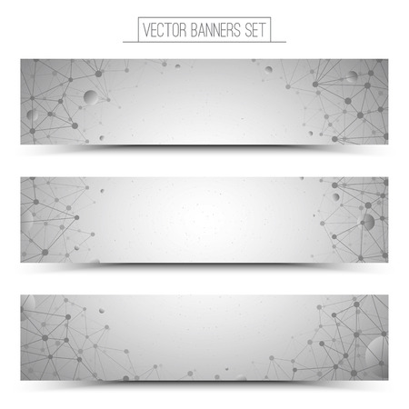 Set of technology vector light gray web banners. Internet advertising business. Connection structure. Technology background. Design vector elements. Media advertising business. Science background Vettoriali