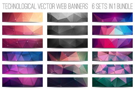 18 추상 디지털 기술 웹 배너의 번들입니다. 벡터 디자인 요소입니다. 인터넷 기술 배경입니다. 디자인 벡터 요소. 미디어 광고 사업. 인터넷 사업
