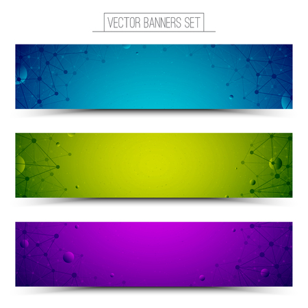 green button: Set of technology vector colorful web banners. Internet advertising business. Connection structure. Technology vector background. Design vector elements. Media advertising business. Science background Illustration