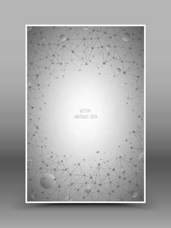 internet connection: Brochure with abstract 3d vector technology gray backdrop. Connection structure. Internet technology business vector background. Science vector background. Abstract vector wallpaper Stock Photo