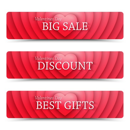 happy web: Happy Valentines Day vector web banners. Vector design template. Vector design mock up. Vector typography design. Abstract vector background. Set of vector design elements