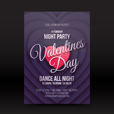day and night: Vector Valentines Day night party flayer. Vector calligraphy design. Lettering flyer invitation vector illustration. Retro vector banner. Vintage vector poster. Vector typography design