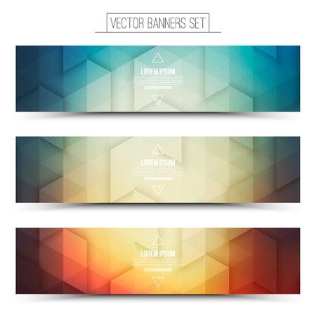 Abstract 3d digital internet technology web banners set