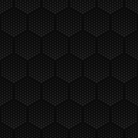 Vector dark geometric halftone seamless pattern. Retro pointillism vector seamless background. Vector old school design. Vector dark gray dotted texture