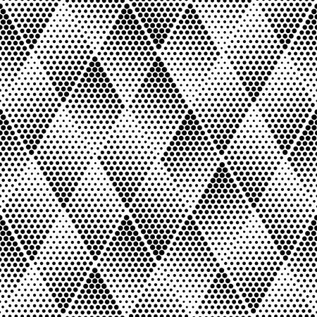 ベクトルの幾何学的なハーフトーンのシームレスなパターン。レトロな点描のベクトルのシームレスな背景。ベクター古い学校。ベクトルのドット