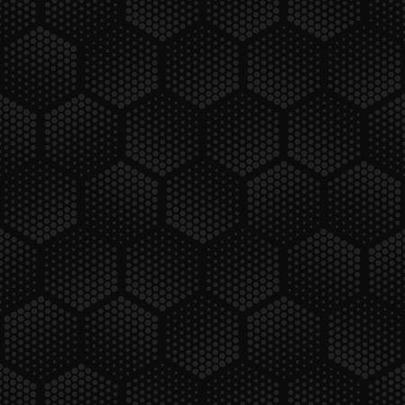 Vector dark geometric halftone seamless pattern. Retro pointillism vector seamless background. Vector old school design. Vector dark gray dotted texture