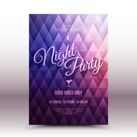 Vector flyer design template Night Party