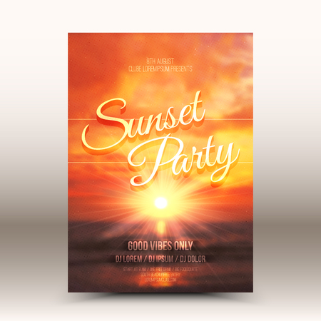 Vector flyer design template Sunset Party