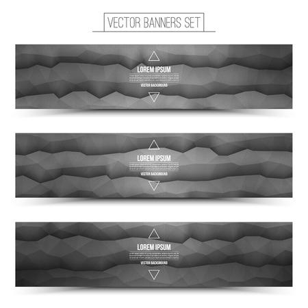 waveform: Abstract 3d vector gray waveform digital technology web banners set for business, internet, advertising, ui, seo Illustration