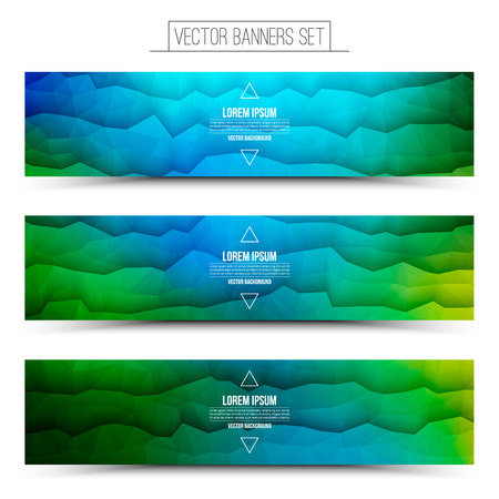 blue waves: Abstract 3d vector bright waveform digital technology web banners set for business, internet, advertising, ui, seo