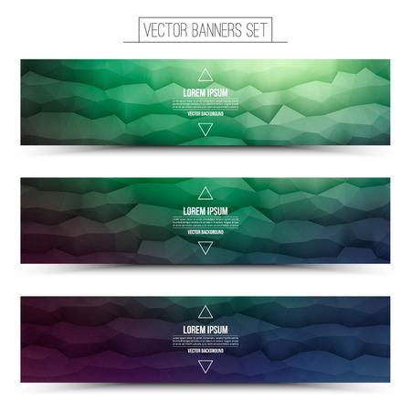 waveform: Abstract 3d vector polygonal waveform digital technology web banners set for business, internet, advertising, ui, seo Illustration