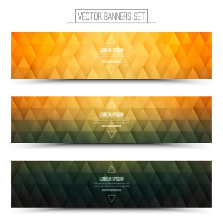 structure triangulaire Abstract 3d vecteur design rétro texturé bannières web vert oranges fixés pour les affaires, Internet, publicité, design, ui, seo